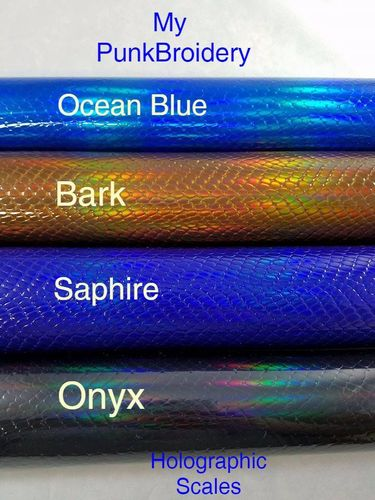 Ocean Blue Holographic Scales Vinyl 9 X 12 Sheet