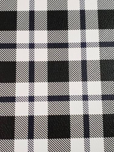 Black and White Larger Plaid Vinyl Sheet 9 X 12
