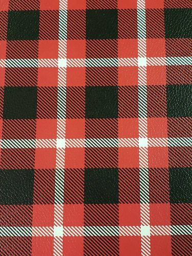 Red Black and White Larger Plaid Vinyl Sheet 9 X 12