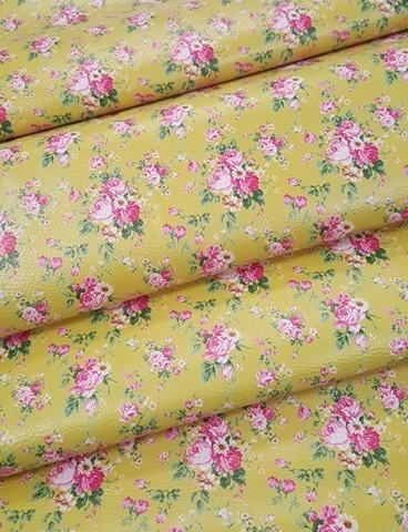 Vintage Blooms Yellow Vinyl Roll 12 x 52