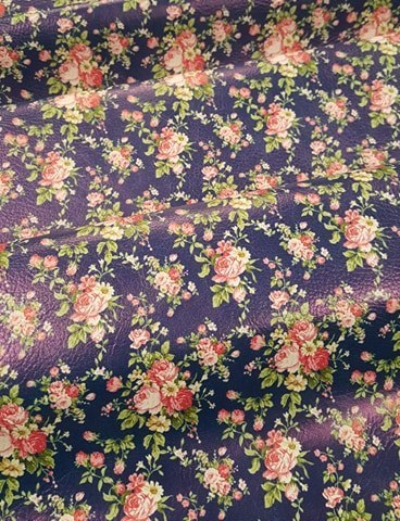 Vintage Blooms Navy Vinyl Sheet 9 x 12
