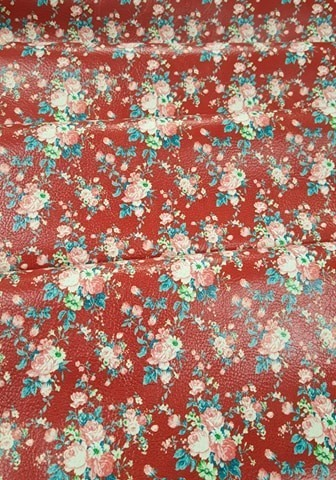 Vintage Blooms Dark Red Vinyl Sheet 9 x 12